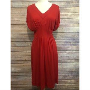 """Anthro deletta red """"back porch"""" knit midi dress"""